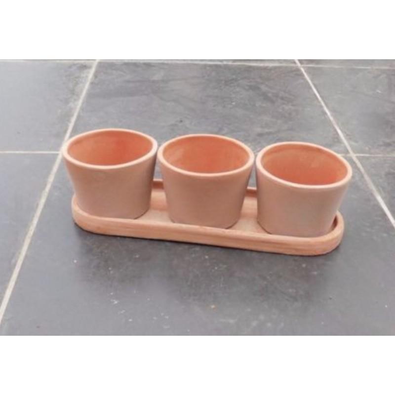 Tris vasi in cotto toscano